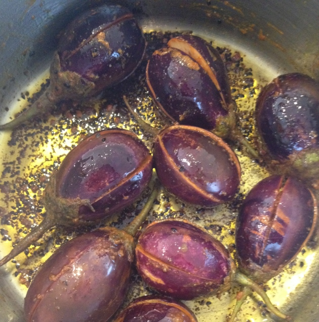 Frying Masala Eggplant