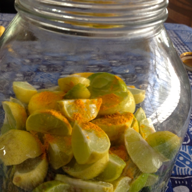 Limes ready to be pickled, anointed with ground turmeric.  Fresh turmeric can be added at this stage too.